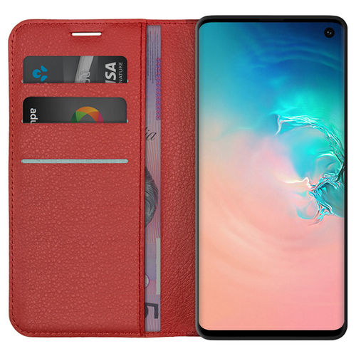 Leather Wallet Case & Card Holder Pouch for Samsung Galaxy S10 - Red